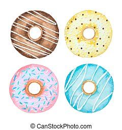Watercolor set of donuts isolated on a white background for...