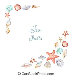 Watercolor corners of the frame with sea shells on white...