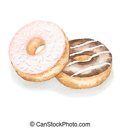 Watercolor donuts isolated on a white background, vector...