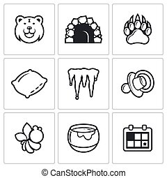 Bear icon set - Bear vector Isolated Flat Icons collection...