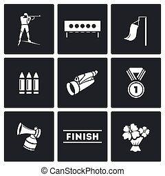 Biathlon icon set - Biathlon Vector Isolated Flat Icons...