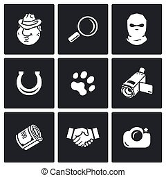 Detective icon set - Detective Vector Isolated Flat Icons...