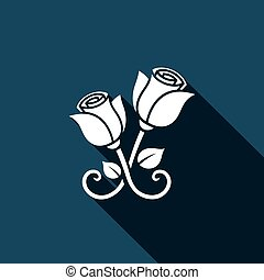 Metal forged roses vector icon - forged roses Vector...