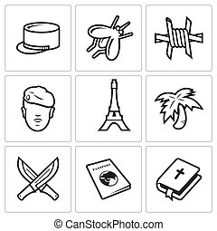 French Foreign Legion icons Vector Illustration - Legion...