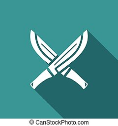 Machete with wooden handle icon. Vector Illustration -...
