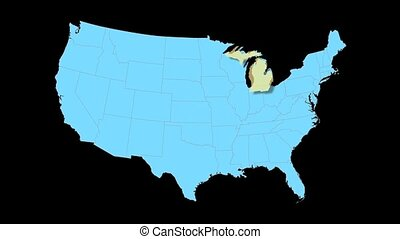 Michigan Map Zooms Out of USA - Michigan animated map video,...