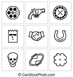 Russian roulette game icons. Vector Illustration.