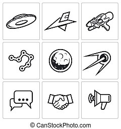 Aliens, search, Contact icons Vector Illustration - Aliens...
