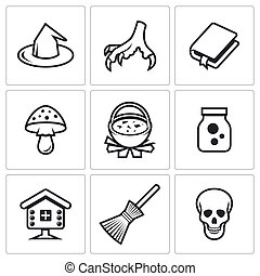 Witch icons. Vector Illustration. - Hag Vector Isolated Flat...