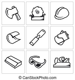Woodworking icons. Vector Illustration. - Woodworking Vector...