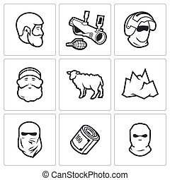 Caucasus icons. Vector Illustration. - Vector Isolated Flat...