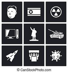 North Korea icons. Vector Illustration. - Vector Isolated...