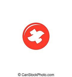 Red bird cross sign. Vector Illustration.