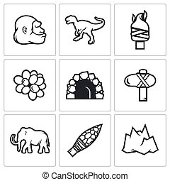 Stone Age and Dawn of the Dinosaurs icons. Vector...