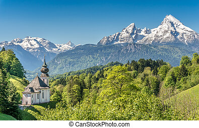 Idyllic mountain landscape in the Bavarian Alps, Berchtesgadener Land, Germany