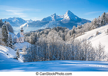 Winter landscape in the Bavarian Alps with church, Bavaria,...