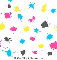 CMYK ink splashes seamless pattern