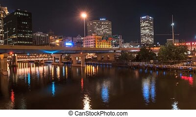 Milwaukee at Night Time-lapse 4k - Milwaukee River, downtown...