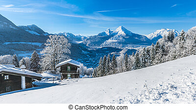 Idyllic landscape in the Bavarian Alps, Berchtesgaden,...