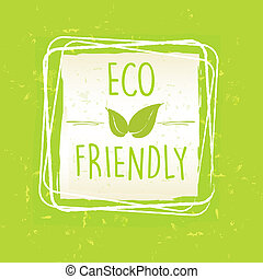 eco friendly with leaf sign in frame over green old paper...