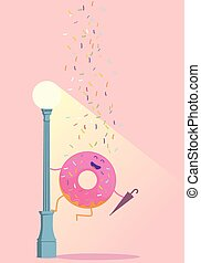 doughnut - Sympathetic donut, this donut on a lamppost with...