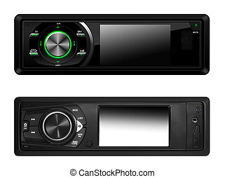 Modern car audio systems isolated with clipping path over...