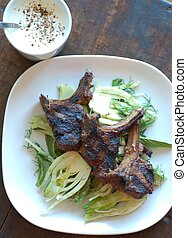 bbq lamb cutlets with shaved fennel salad - lamb shops...