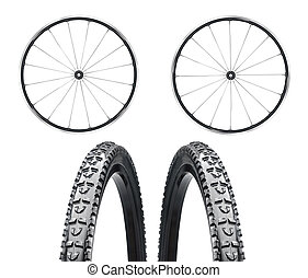 Bicycle wheels close up on white