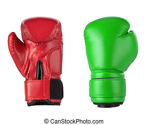 Red and Green boxing gloves - Red boxing gloves isolated on...