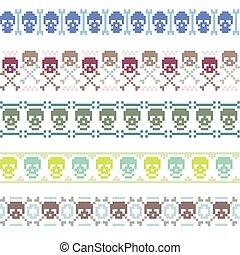 vector borders with pixel skulls