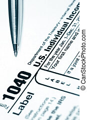 Tax Return - Form 1040 US tax return, with ballpoint pen...