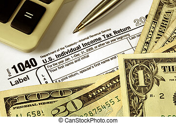 Tax Refund - Tax refund ~ money over 1040 Tax form, with...