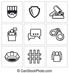 The verdict of the court and detention icons set. Vector...