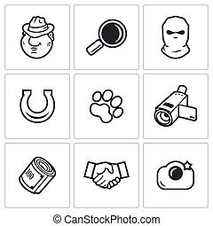 Detective icons set Vector illustration - Detective Vector...