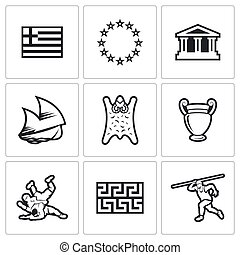 Greece vector icons Vector Illustration - Greece Vector...