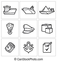 Sea craft icons. Vector Illustration. - Sea craft Vector...