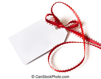 Gift Tag with Red Ribbon - Blank white gift tag tied with...