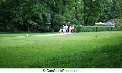 Team of golf player walking to the next hole
