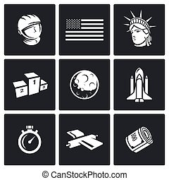 USA and moon icons Vector Illustration - Space Vector...