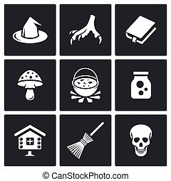 Witch icons Vector Illustration - Hag Vector Isolated Flat...