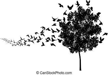Home to roost - Vector silhouettes of a pigeon flock flying...