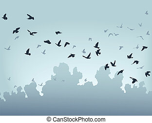 Migration - Vector illustration of a flock of flying birds