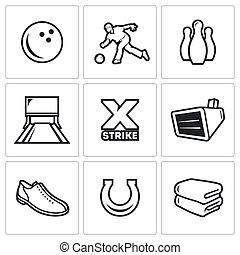 Bowling icons Vector Illustration - Vector Isolated Flat...