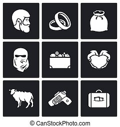 Custom wedding - bride price icons. Vector Illustration. -...