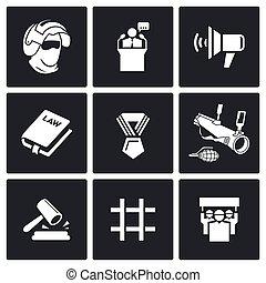 Armed revolution icons. Vector Illustration. - Vector...