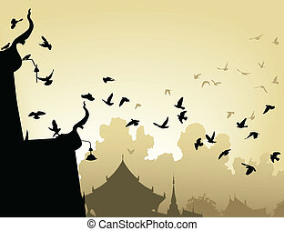 Temple pigeons - Vector illustration of pigeons flying to a...