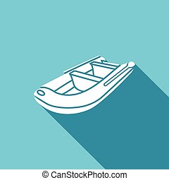 Inflatable boat icon. Vector Illustration. - Vector Isolated...