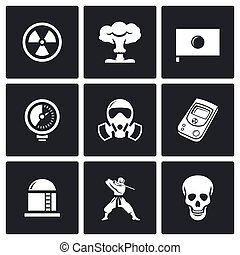 Atomic Energy of Japan icons Vector Illustration - Vector...