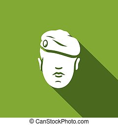Maroon Military Beret of Army Special Forces icon. Vector...
