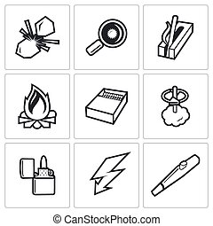 Make a fire, the fire source icons Vector Illustration -...